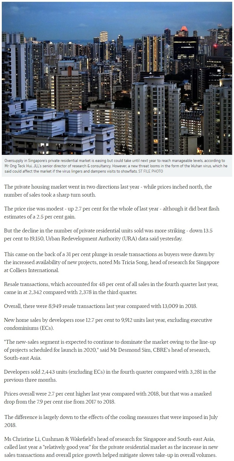 Clavon - Singapore private home prices inch up 2.7% for 2019 Part 1