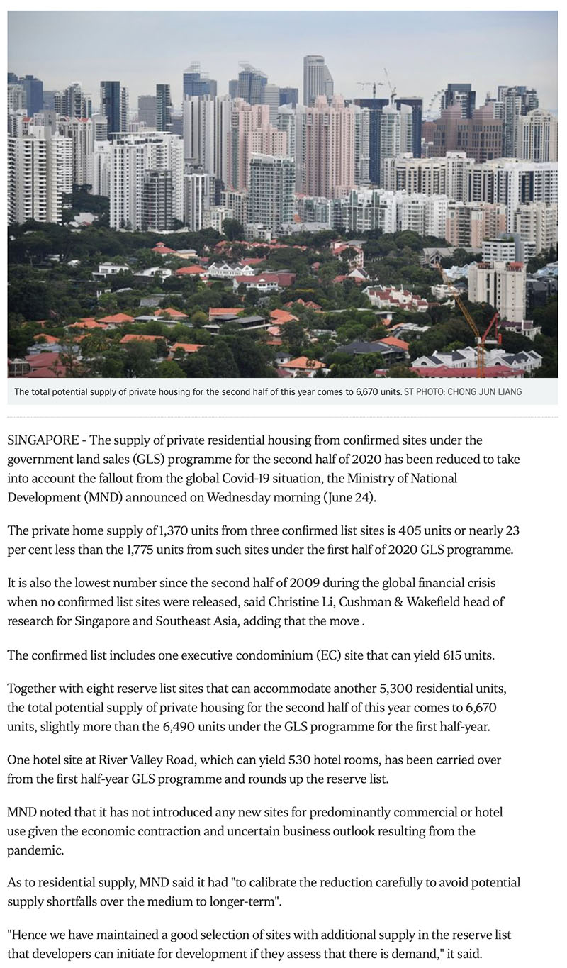 Clavon - Govt cuts private housing supply from confirmed land sale sites due to Covid-19 fallout Part 1